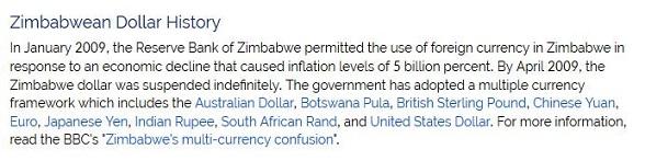 Zimbabwe Dollar suspended