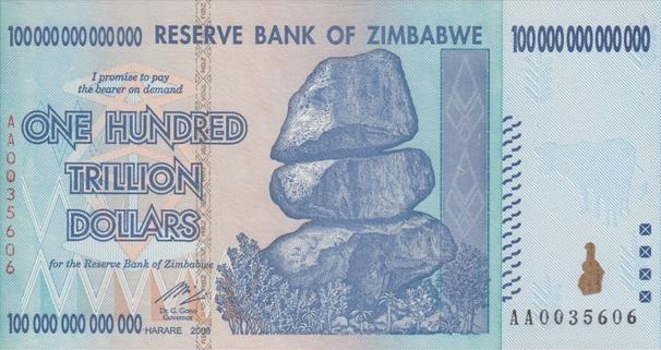 Zimbabwe 100 Trillion Dollar Banknote