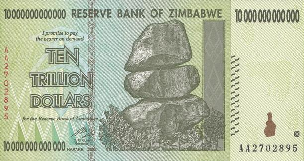 Zimbabwe 10 Trillion Dollar Note (Front)