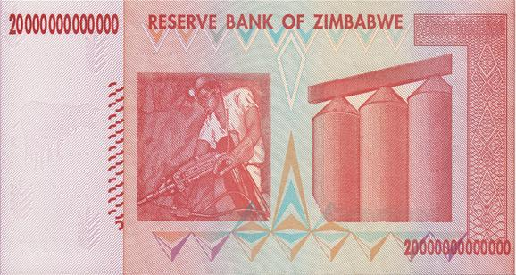 Zimbabwe 20 Trillion Dollar Note (Back)