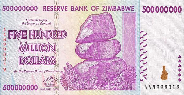 Zimbabwe 500 Million Dollar Note (Front)