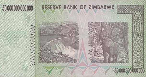 Zimbabwe 50 Trillion Dollar Note (Back)