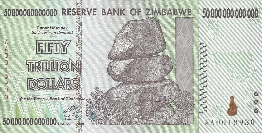 Zimbabwe 50 Trillion Dollar Note