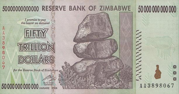 Zimbabwe 50 Trillion Dollar Banknote