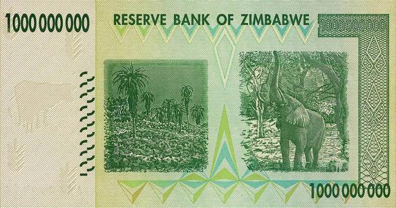 Zimbabwe One Billion Dollar Note (Back)