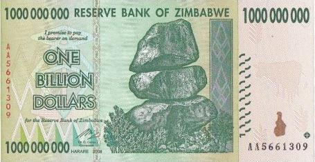 Zimbabwe One Billion Dollar Note