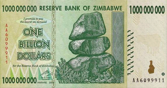 Zimbabwe One Billion Dollar Note (Front)