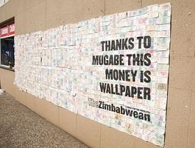 Zimbabwe money is wallpaper now.
